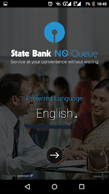 SBI NoQueue - Select Language