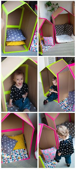 como hacer una casita de carton para bebes