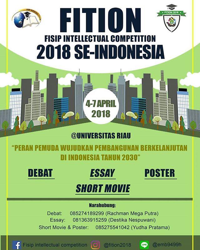 Lomba Debat, Essay, Short Movie dan Poster FISIP INTELLECTUAL COMPETITION 2018