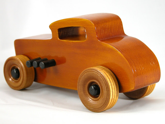 Left Rear - Wood Toy Cars - Wooden Cars - Wood Toys - Wooden Car - Wood Toy Car - Hot Rod - 1932 Ford - 32 Deuce Coupe - Little Deuce Coupe - Roadster - Race Car