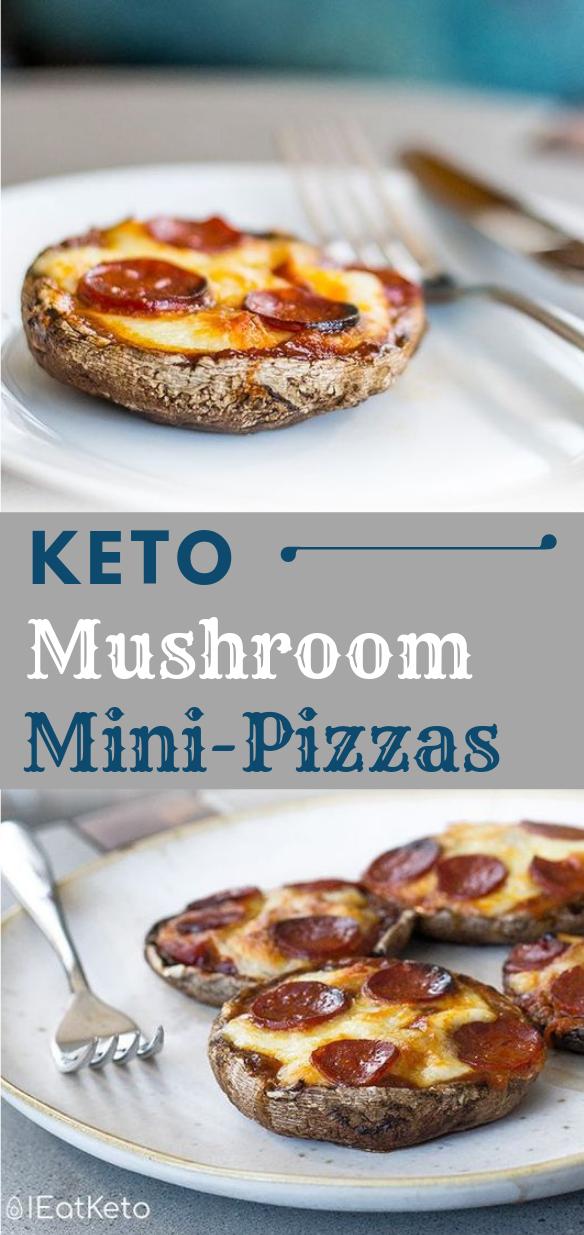 Portobello Mushroom Mini Keto Pizza #mushroom #diet #keto