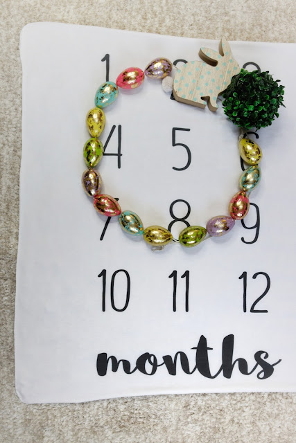 easter spring bunny inspo baby blanket monthly milestone ideas