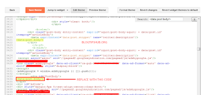 insert ad code in blogspot template