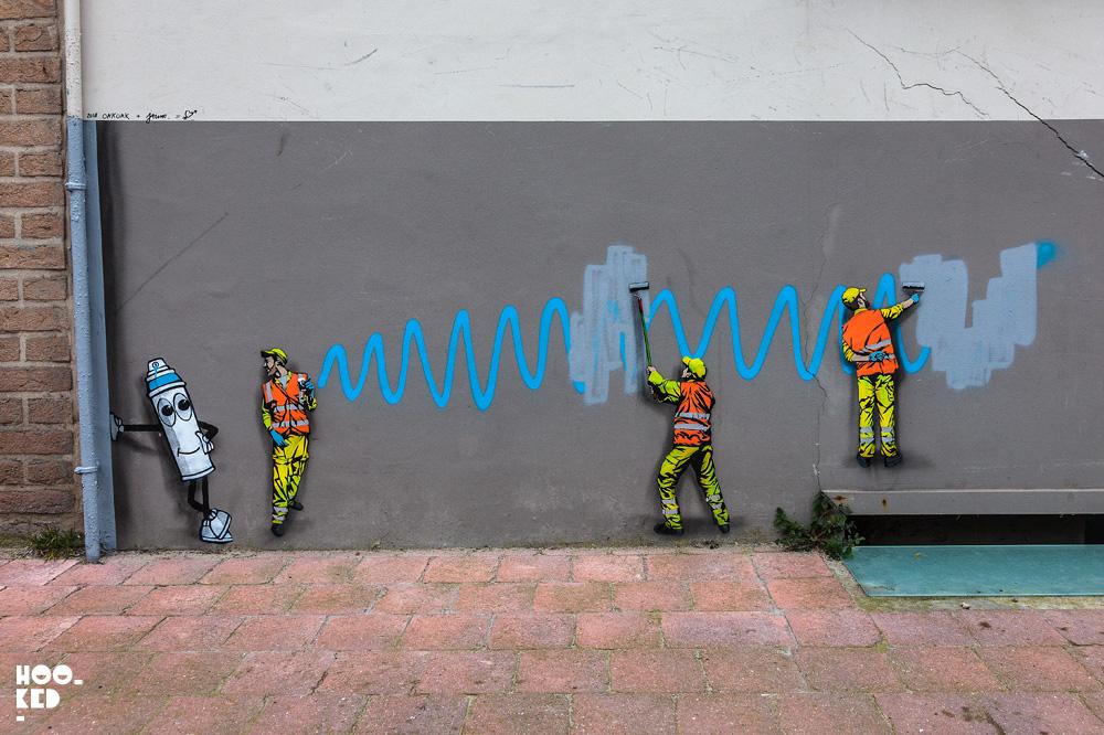 Street Artist OakOak and Jaune in Ostend, Belgium. Photo ©Hookedblog / Mark Rigney