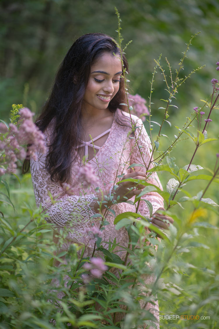 Ann Arbor Senior Pictures Photographer Pioneer High School Indian Girl Senior Portrait ideas in Flower Meadows Garden - SudeepStudio.com