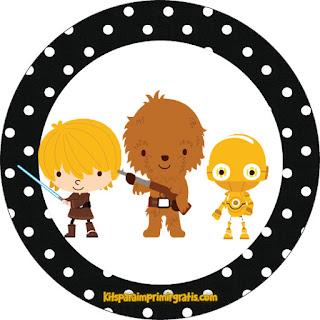 Toppers o Etiquetas para Imprimir Gratis de Star Wars Bebés.