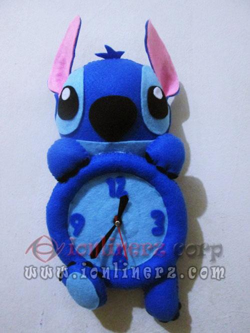 Jam Dinding Flanel Karakter Kartun Boneka Stitch