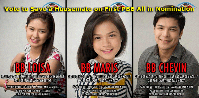 Vote to Save a Housemate on First PBB all in Nomination namely Maris, Loisa and Chevin
