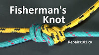 yellow and blue rope tied into a fisherman's knot