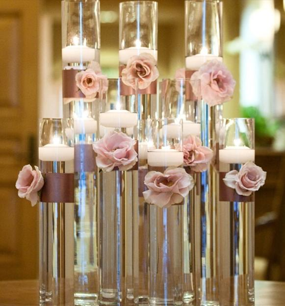 Simple Cylinder Centerpieces on Peas Craft