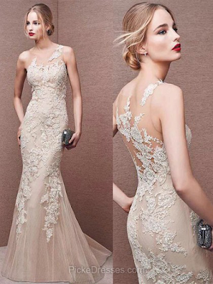 Trumpet/Mermaid Scoop Neck Sweep Train Tulle with Appliques Lace Prom Dresses