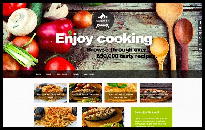 FoodMag Cooking Blogger Template Free Download