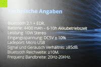 Spezifikation: R4mpage RP-1100 Bluetooth Lautsprecher 10Watt mit LED Farbwechselmodus, und Mikrofon für Freisprechfunktion