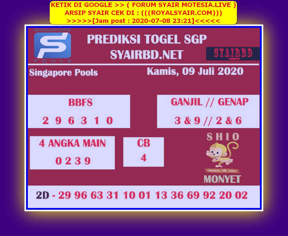 Kode syair Singapore Kamis 9 Juli 2020 219