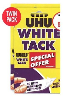 nothing bluetack, perfect put up poster, glue stick, UHU White Tack Twin Pack – £2.88