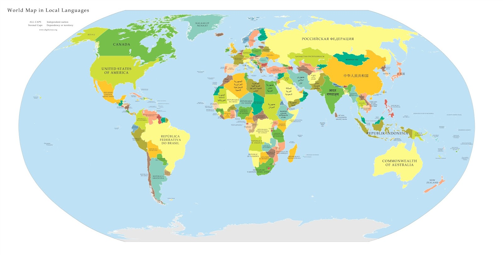 High Resolution political map of the world, with countries labeled in their native language