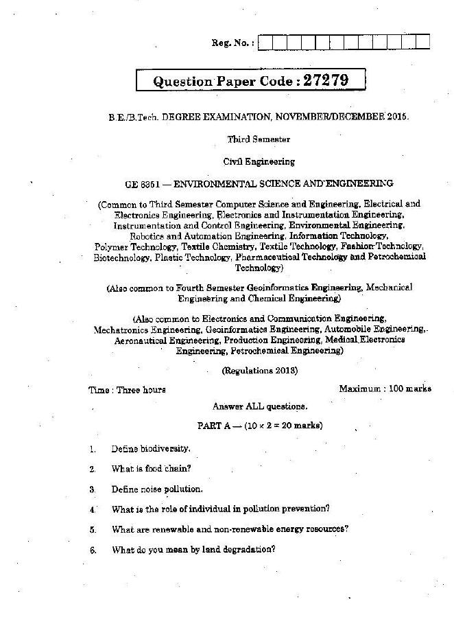 GE6351 Environmental Science and Engineering (EVS) Nov Dec