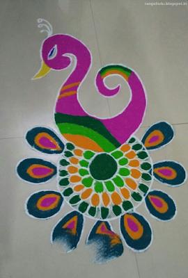 Beautiful Peacock Rangolis