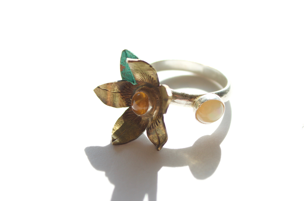 Brass Flower Ring with two stones