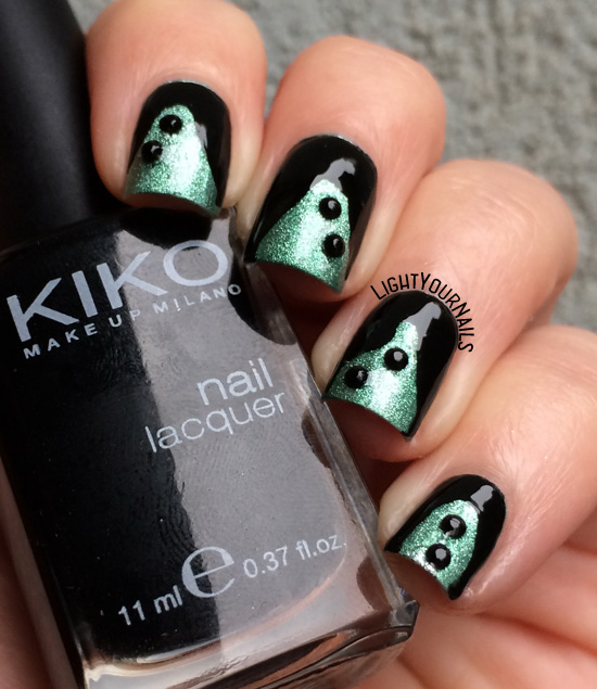 Funky Fingers Sold Out Arena and Kiko 275 green and black studded nails