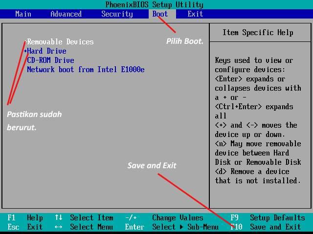 Gambar setting system bios