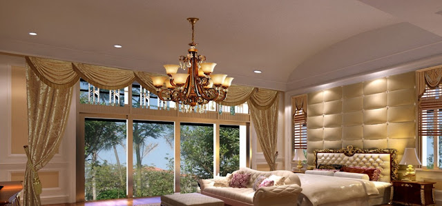 Modern bedroom curtains in golden style for great interior