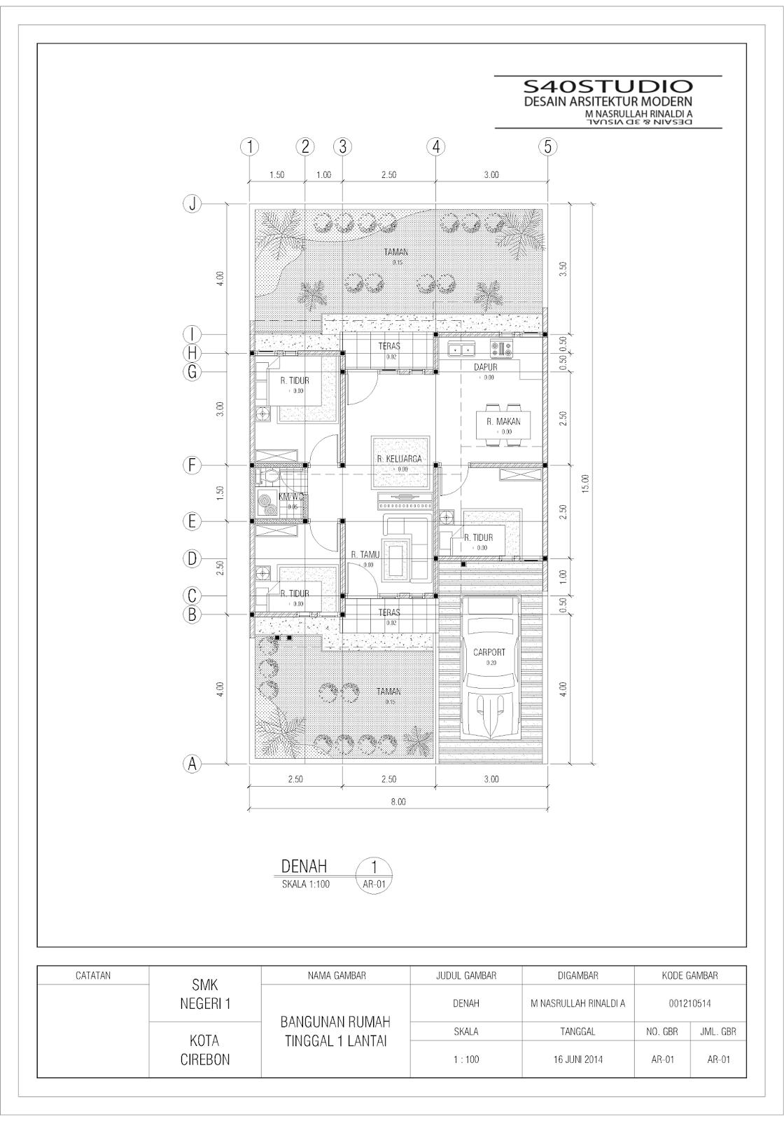 Desain Rumah 8 X 15 Meter DESAIN RUMAH MINIMALIS MODERN S40studio