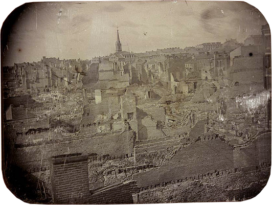 Ruins of the Great St. Louis Fire, 17-18 May 1849. Daguerreotype by Thomas M. Easterly, 1849. Source: Missouri History Museum Photographs and Prints Collections