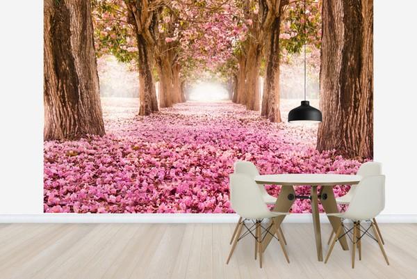 Tapetti Luonto tapetti Pink kukka romanttinen tapetti Puut taustakuva