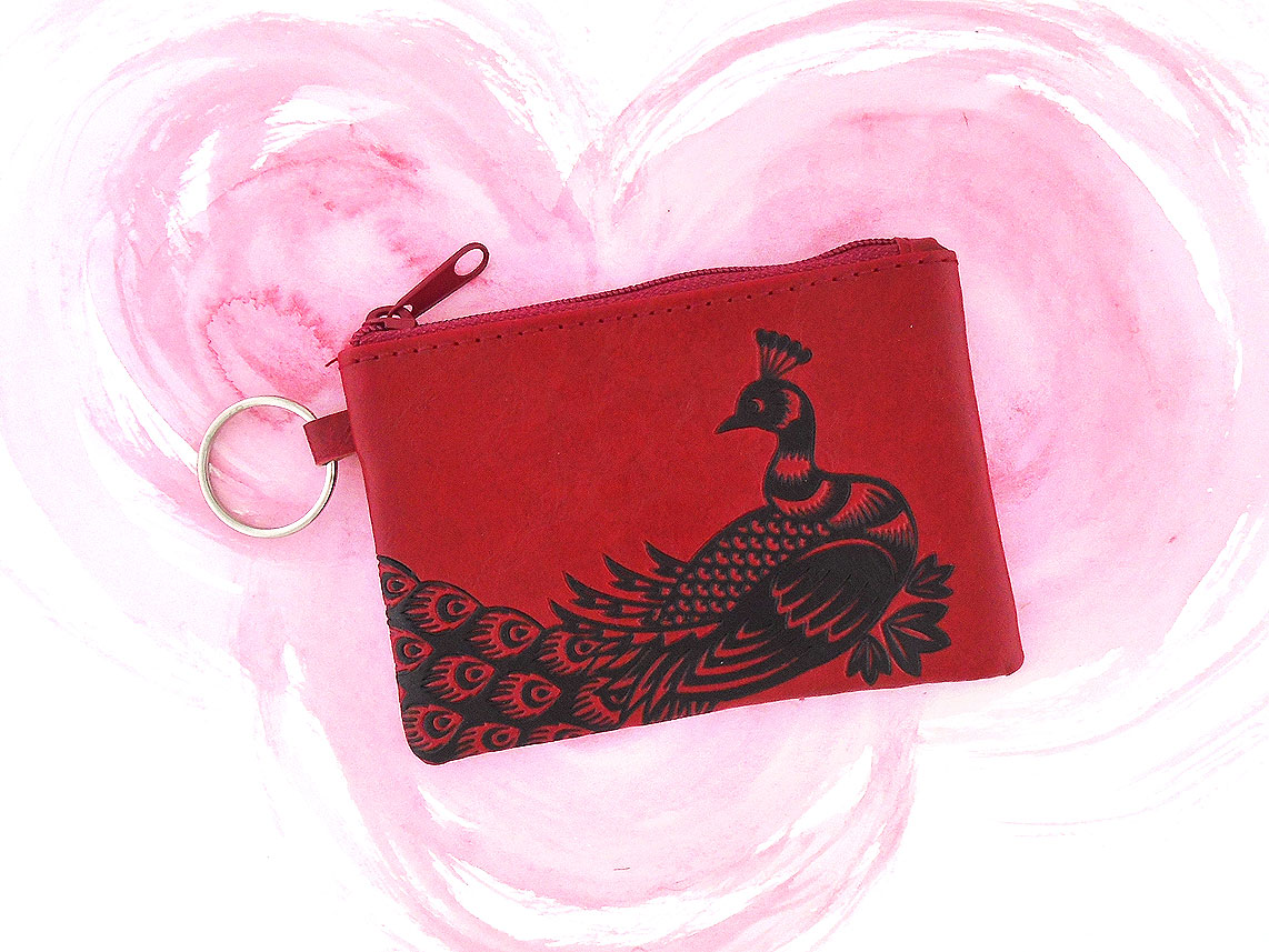 LAVISHY vegan coin purse with peacock embossed