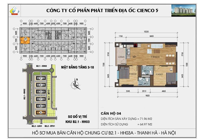 Sơ đồ thiết kế chi tiết căn hộ 04 chung cư B2.1 HH03 Thanh Hà