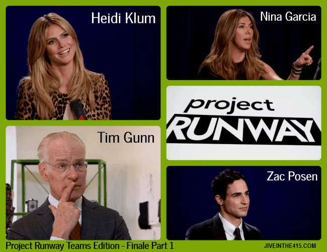 TV Talk - Photos of Project Runway Teams Edition Finale Part 1 - Judges Heidi Klum, Zac Posen, Nina Garcia and fashion design mentor Tim Gunn
