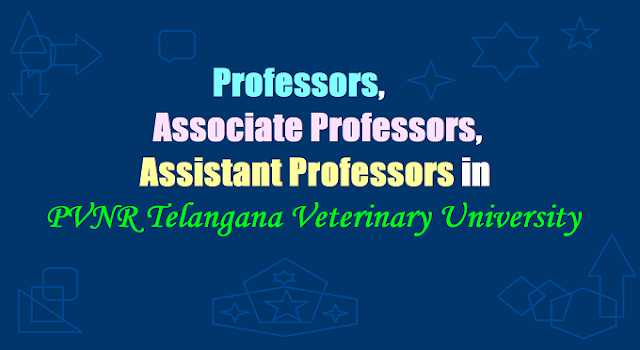 147 Professors,Associate Professors, Assistant Professors in PVNR Telangana Veterinary University