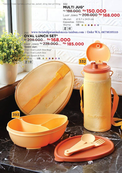 Promo Diskon Tulipware Sep 2017, Multi Jug, Oval Lunch Set