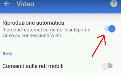 Togliere riproduzione automatica video Android