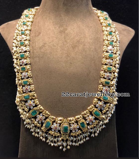 Emerald Peacock Haram by Satyanarayana Jewellers