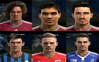 Faces: Ronald Vargas, Rolf Feltscher, Robert Bauer, Marten de Roon, Frank Feltscher, Corentin Jean, Pes 2013