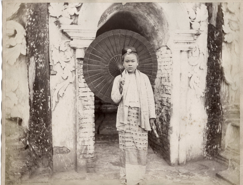 Burmese Girl with Umbrella - Burma (Myanmar) circa 1880's
