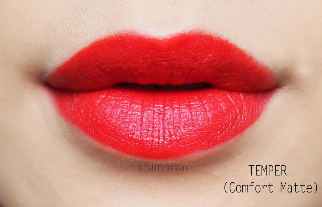 Urban Decay Comfort Matte Vice Lipstick in Temper Swatches