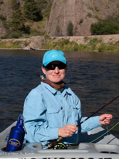 Happy angler on the Missouri River, Montana