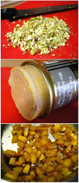 ensalada de pato, reducción de mango y vinagreta de fresas