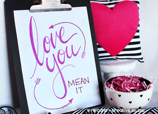 love you art print, hand lettered print, black and whote stripes, pink heart