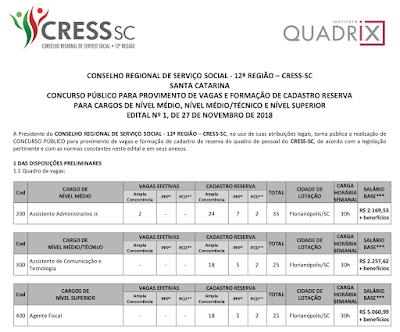 concurso CRESSSC - CONSELHO REGIONAL DE SERVIÇO SOCIAL – 12ª REGIÃO
