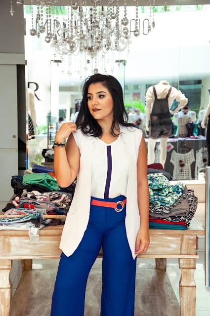 Calça pantalona azul + Colete Branco - Mirelle Sampaio