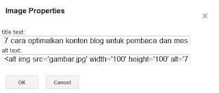 <alt img src='gambar.jpg' width='100' height='100' alt=' alt image/>