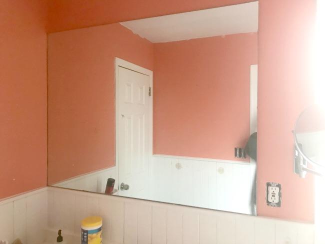 Orange bathroom and mirror