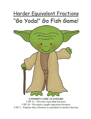 "Fern Smith's Classroom Ideas FREE ""Go Yoda!"" Harder Equivalent Fractions Go Fish Card Game"
