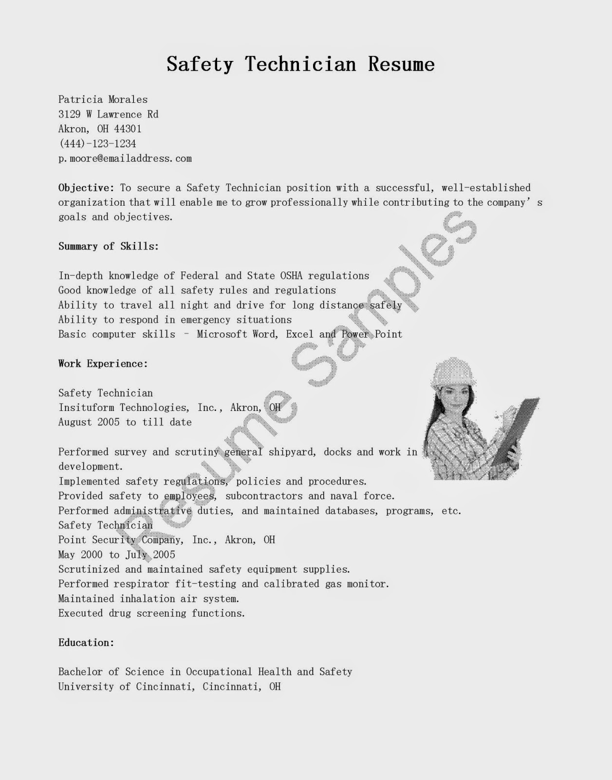 resume samples  safety technician resume sample