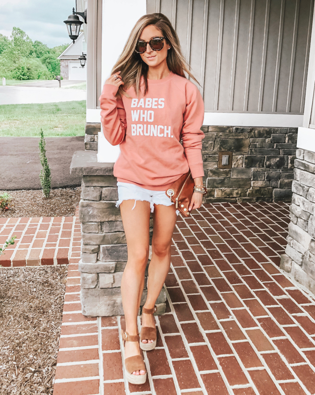 brunette the label babes who brunch sweatshirt