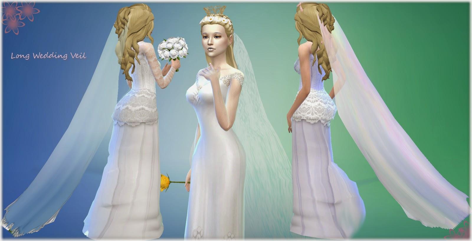 Sims 4 Wedding Veil.Mythical Dreams Sims 4 Long Wedding Veil